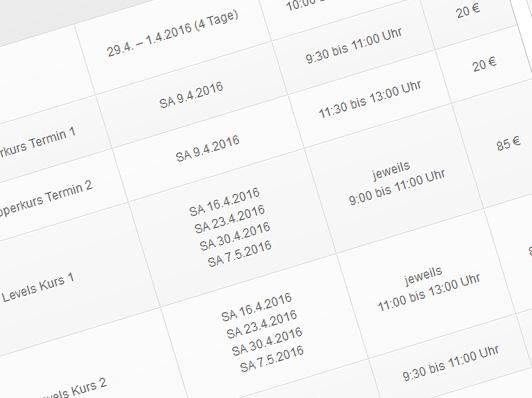 Terminübersicht 2016 – Kurse & Camps